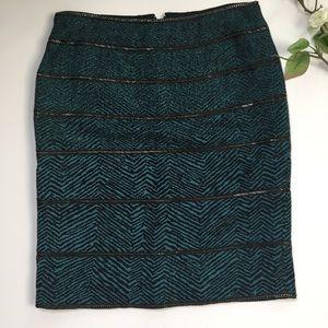 Carlisle Green Teal Zebra Zipper Pencil Skirt